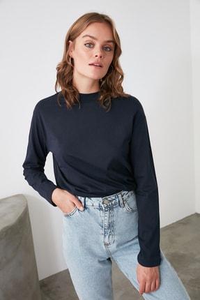 TRENDYOLMİLLA Lacivert Uzun Kollu Dik Yaka Örme T-Shirt TWOAW20TS0233 2