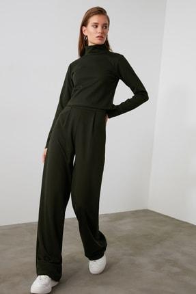 TRENDYOLMİLLA Haki Flare Örme Pantolon TWOAW21PL0480 0