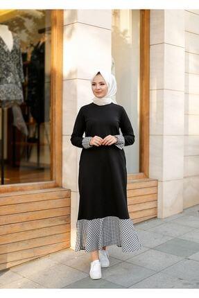 ELBİCA Kadın  Siyah Beli Kuşaklı Cepli Ekose Desen Elbise 0