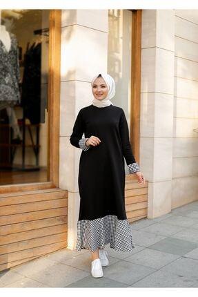 ELBİCA Kadın  Siyah Beli Kuşaklı Cepli Ekose Desen Elbise 1