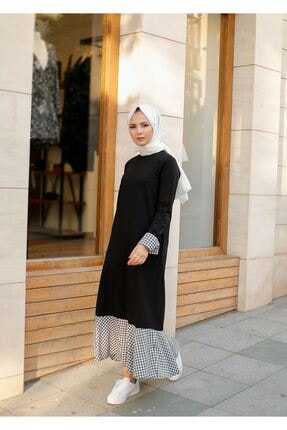ELBİCA Kadın  Siyah Beli Kuşaklı Cepli Ekose Desen Elbise 2