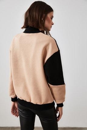 TRENDYOLMİLLA Camel Renk Bloklu Baskılı Örme Sweatshirt TWOAW21SW0775 4