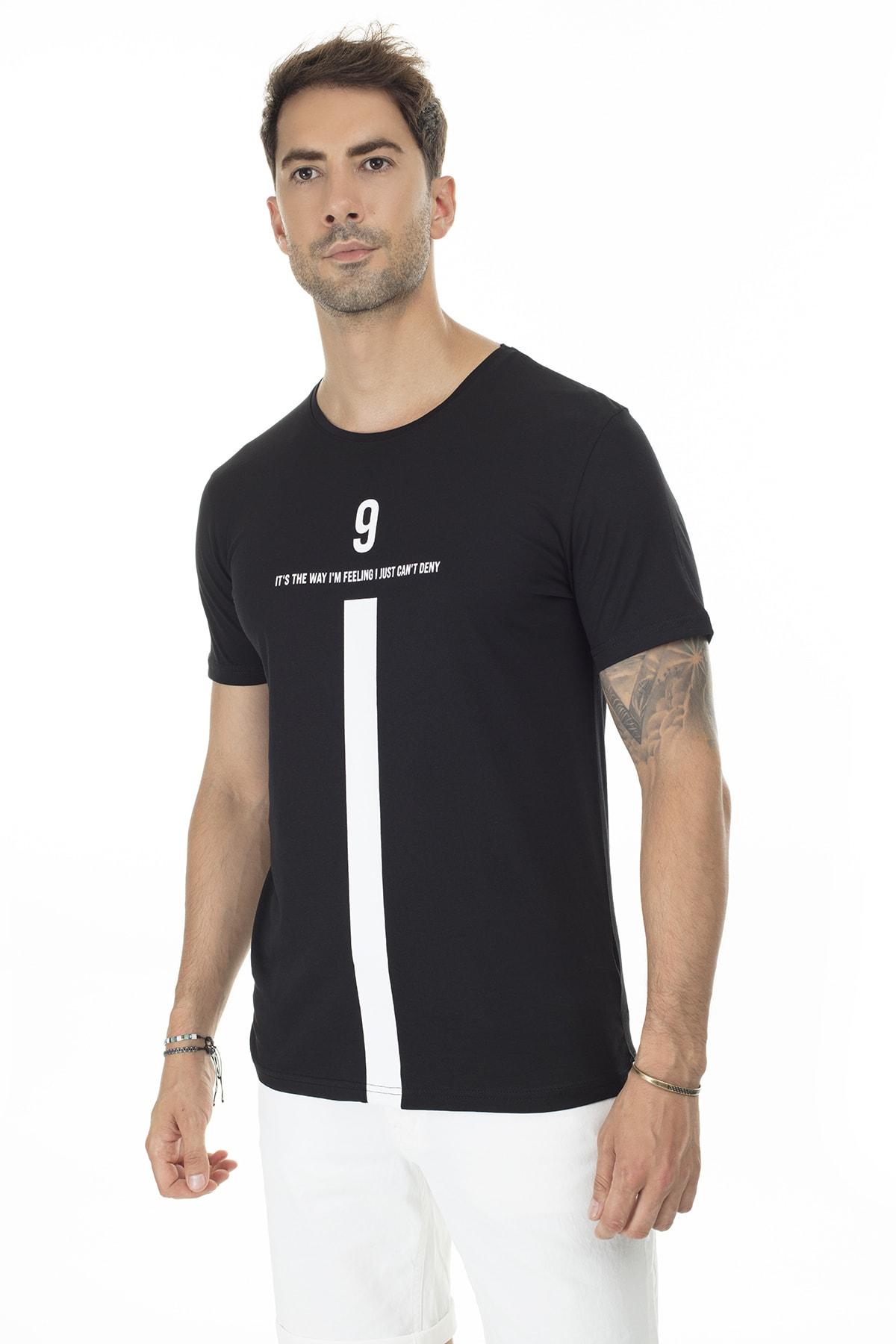 Buratti Erkek SİYAH Ön Beden Baskılı Bisiklet Yaka Pamuklu T Shirt 5721005 2