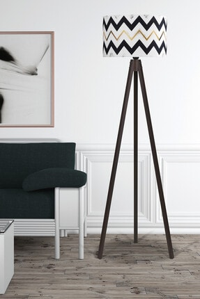 MyLightConcept Dekoratif Özel Tasarım Dijital Baskılı Yeni Trend Kumaş Lambader Ceviz Ayak/mlc059 0