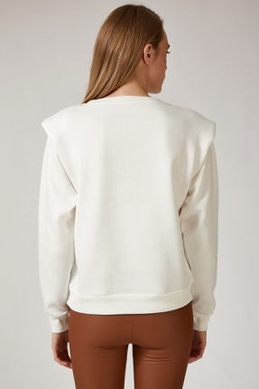 Happiness İst. Kadın Beyaz Vatkalı Slim Crop Sweatshirt BP00036 2