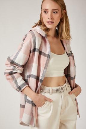 Happiness İst. Kadın Pembe Oduncu Kapüşonlu Ceket Gömlek DD00745 1