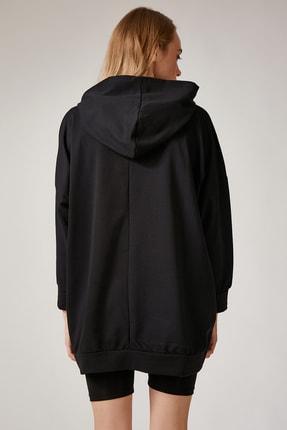 Happiness İst. Kadın Siyah Baskılı Kapüşonlu Uzun Oversize Sweatshirt Lİ00038 3