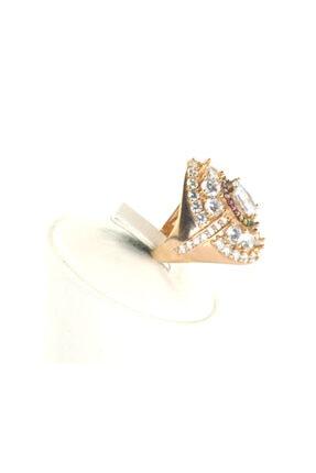 Fantasia Rose Bayan Gümüş Yüzük Beyaz Baget Taş 1