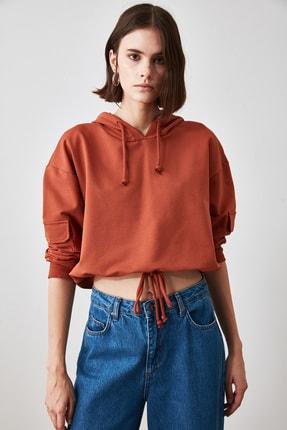 TRENDYOLMİLLA Tarçın Cep Detaylı  Basic Örme Sweatshirt TWOAW20SW0188 2