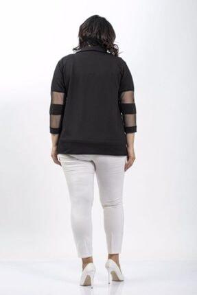 Penna Butik Kadın Siyah Büyük Beden Kolları Transparan Detaylı Ceket 3