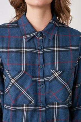 TRENDYOLMİLLA Mavi Cep Detaylı Ekoseli Ceket Gömlek TWOAW21GO0449 3
