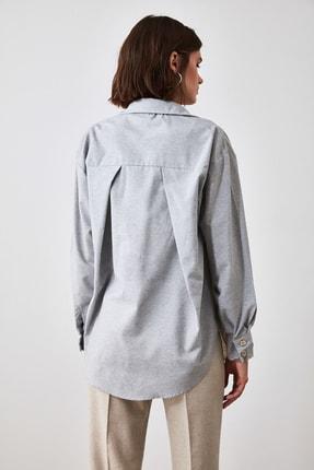 TRENDYOLMİLLA Bej Renk Bloklu Gömlek TWOAW21GO0460 4