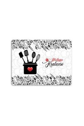 Decovetro Mutfağın Kraliçesi Desenli | Cam Kesme Tahtası - Kesim Tablası 20x30 Cm 2