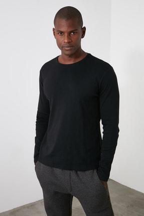 TRENDYOL MAN Siyah Erkek Slim Fit Bisiklet Yaka Uzun Kollu Basıc T-shirt TMNAW20TS0199 0
