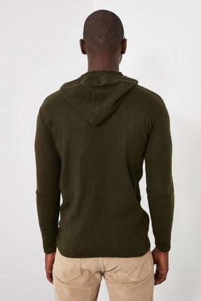 TRENDYOL MAN Yeşil Erkek Kapüşonlu Dokulu Slim Fit Triko Kazak TMNAW20KZ1527 2