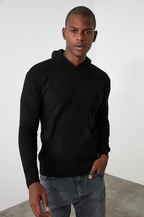 TRENDYOL MAN Siyah Erkek Kapüşonlu Dokulu Slim Fit Triko Kazak TMNAW20KZ1527 1