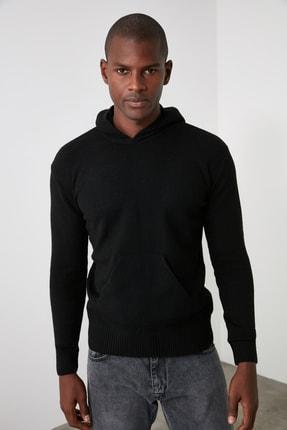 TRENDYOL MAN Siyah Erkek Kapüşonlu Dokulu Slim Fit Triko Kazak TMNAW20KZ1527 0