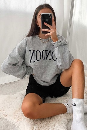 Madmext Mad Girls Gri Kadın Sweatshirt MG699 0