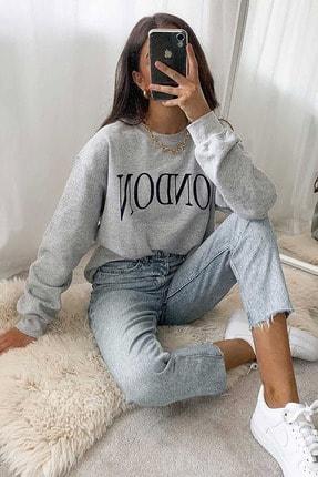 Madmext Mad Girls Gri Kadın Sweatshirt MG699 1