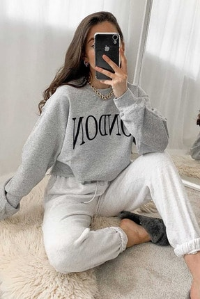 Madmext Mad Girls Gri Kadın Sweatshirt MG699 3