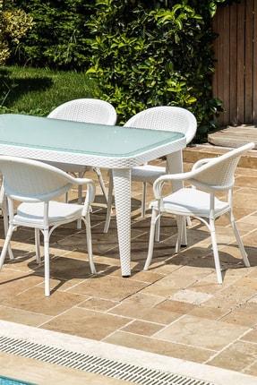 Tilia Flash 90*150 Cm 6lı Temperli Camlı Bahçe Masa Takımı*beyaz* 0