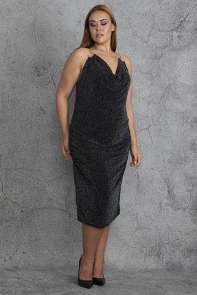 Şans Kadın Siyah Sırt Dekolteli Lastik Büzmeli Simli Abiye Elbise 65N18409 0