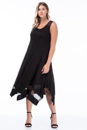 Şans Kadın Siyah Omuz Ve Etek Ucu File Detaylı Elbise 65N18459 0