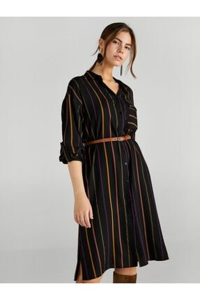Faik Sönmez Kadın Siyah Çizgili Gömlek Elbise 3