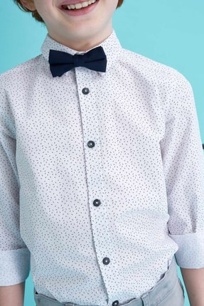 Defacto Erkek Çocuk Papyonlu Baskılı Pamuklu Uzun Kollu Gömlek 2