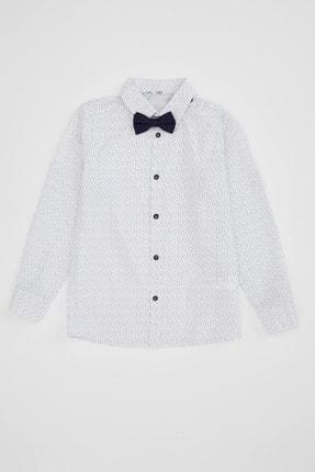 Defacto Erkek Çocuk Papyonlu Baskılı Pamuklu Uzun Kollu Gömlek 4