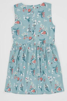 Defacto Kız Çocuk Çiçek Baskılı Kolsuz Elbise 4