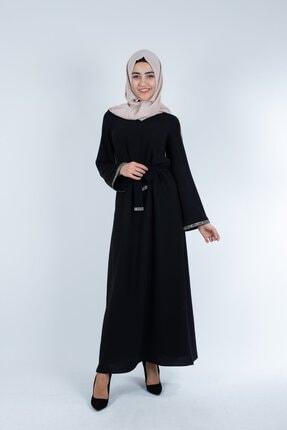 Setrine Kadın Siyah Kol Ve Kuşak Taşlı Elbise 1