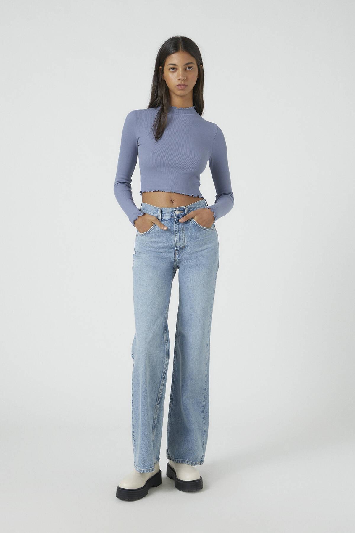 Pull & Bear Kadın Koyu Lacivert Kıvrımlı Kenarlı Uzun Kollu T-Shirt 09249310 1