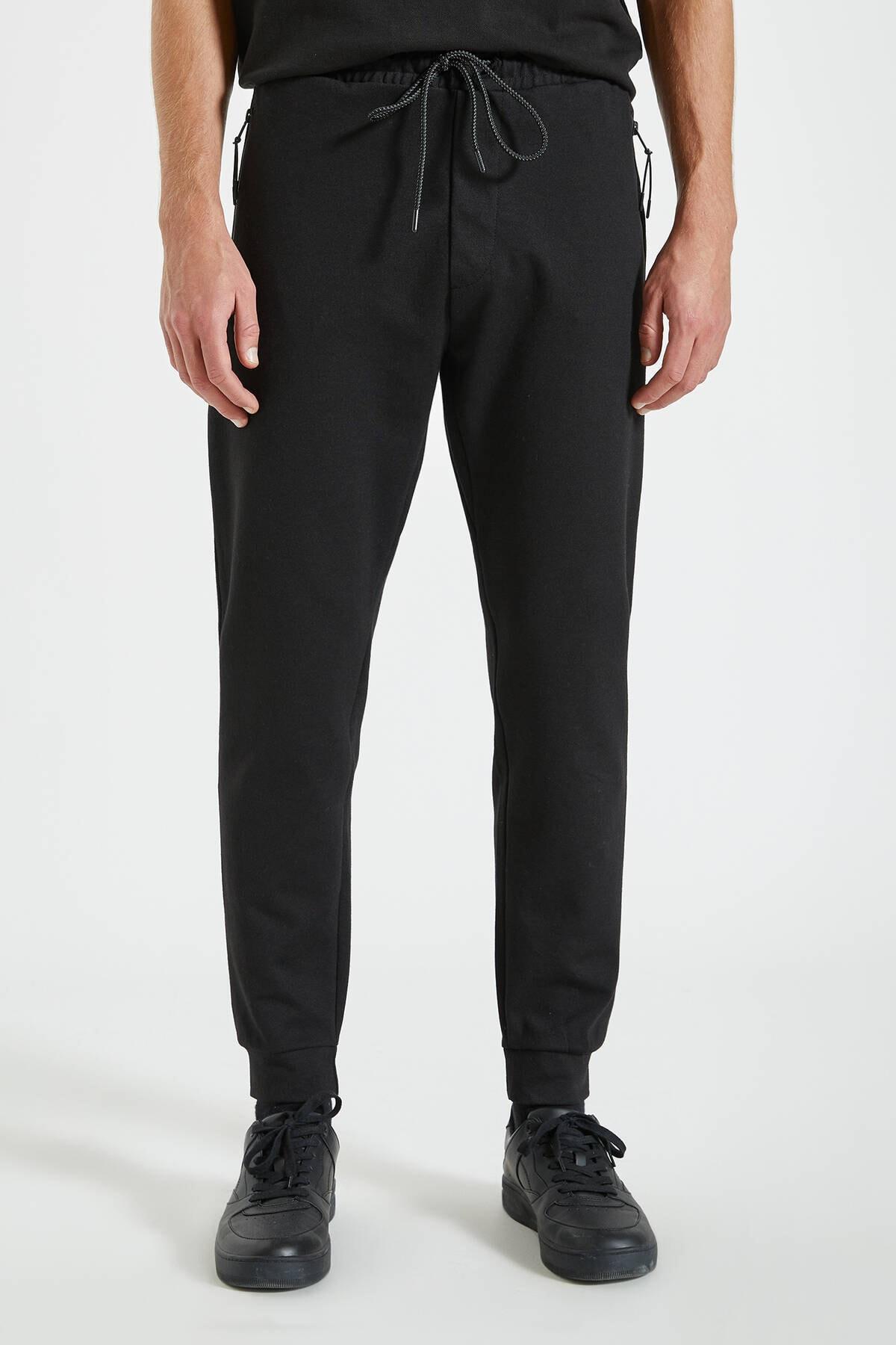 Pull & Bear Erkek Siyah Kontrast Fermuarlı Jogging Fit Pantolon 09678525 2