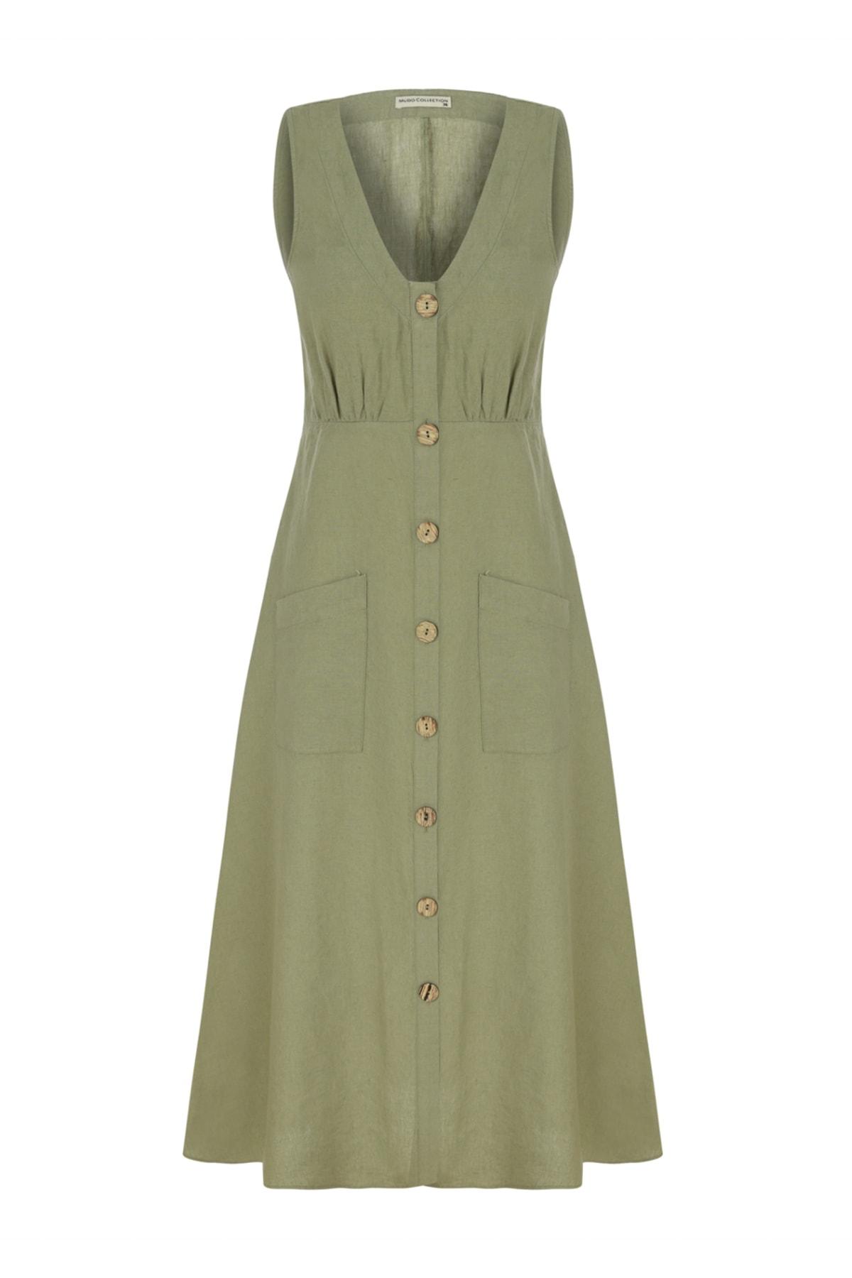 Kadın Siyah Düğmeli Midi Keten Elbise 1216973