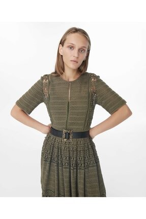 İpekyol Kadın Haki Transparan Güpür Elbise 1