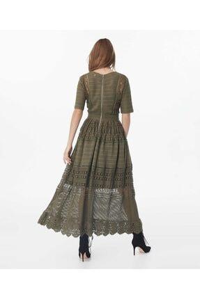 İpekyol Kadın Haki Transparan Güpür Elbise 3