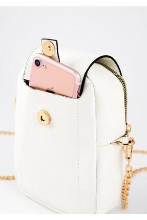 BAGzy Kadın Beyaz Telefon Bölmeli Gold Detaylı Omuz Çantası 1