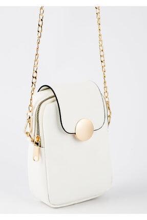 BAGzy Kadın Beyaz Telefon Bölmeli Gold Detaylı Omuz Çantası 2