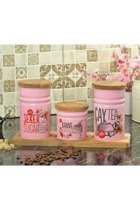 Palmiye Home Dikdörtgen Ahşap Standlı 3'lü Çay, Şeker ve Kahve Seti Dikdörtgen Ahşaplı 3'lü 0
