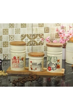 Palmiye Home Dikdörtgen Ahşap Standlı 3'lü Çay, Şeker ve Kahve Seti Dikdörtgen Ahşaplı 3'lü 2