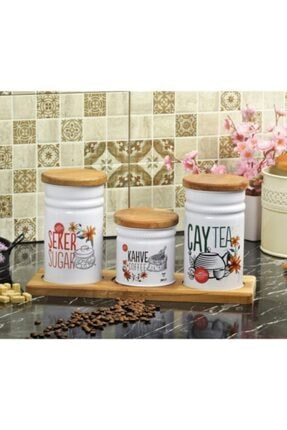 Palmiye Home Dikdörtgen Ahşap Standlı 3'lü Çay, Şeker ve Kahve Seti Dikdörtgen Ahşaplı 3'lü 3