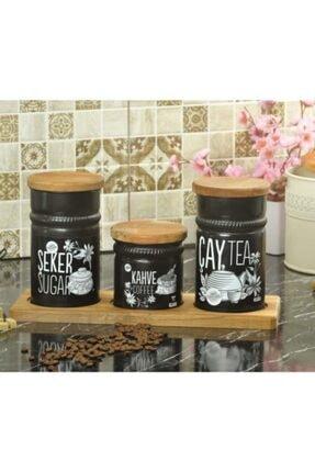 Palmiye Home Dikdörtgen Ahşap Standlı 3'lü Çay, Şeker ve Kahve Seti Dikdörtgen Ahşaplı 3'lü 4