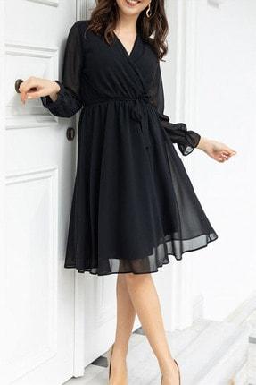 Elbise Delisi Siyah Kruvaze Yaka Şifon Büyük Beden Elbise 0