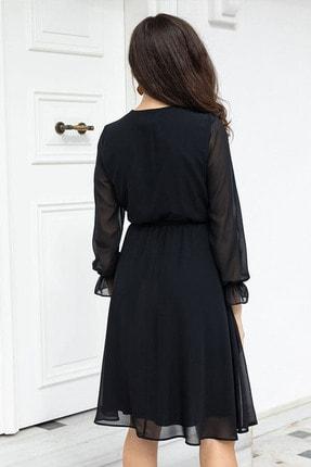 Elbise Delisi Siyah Kruvaze Yaka Şifon Büyük Beden Elbise 3