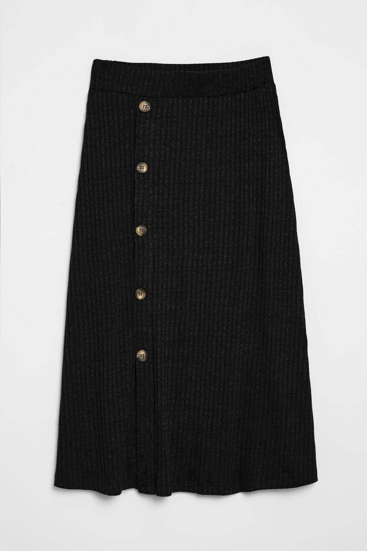 GRIMELANGE OLIVA Kadın Triko Görünümlü Önü  Düğmeli  Siyah Etek 0