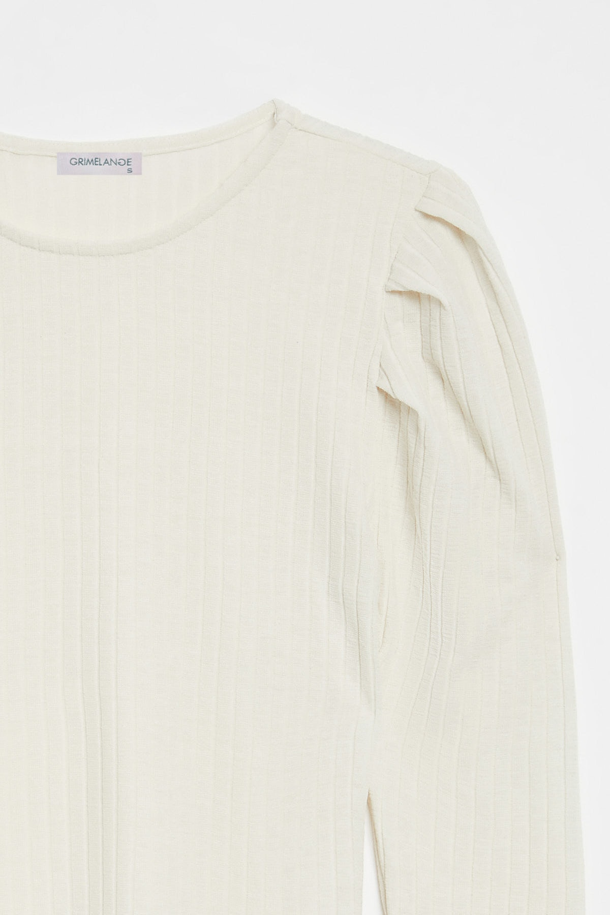 GRIMELANGE KIEV Kadın Beyaz Kolları Pileli Triko Görünümlü Uzun Kollu Bluz 2
