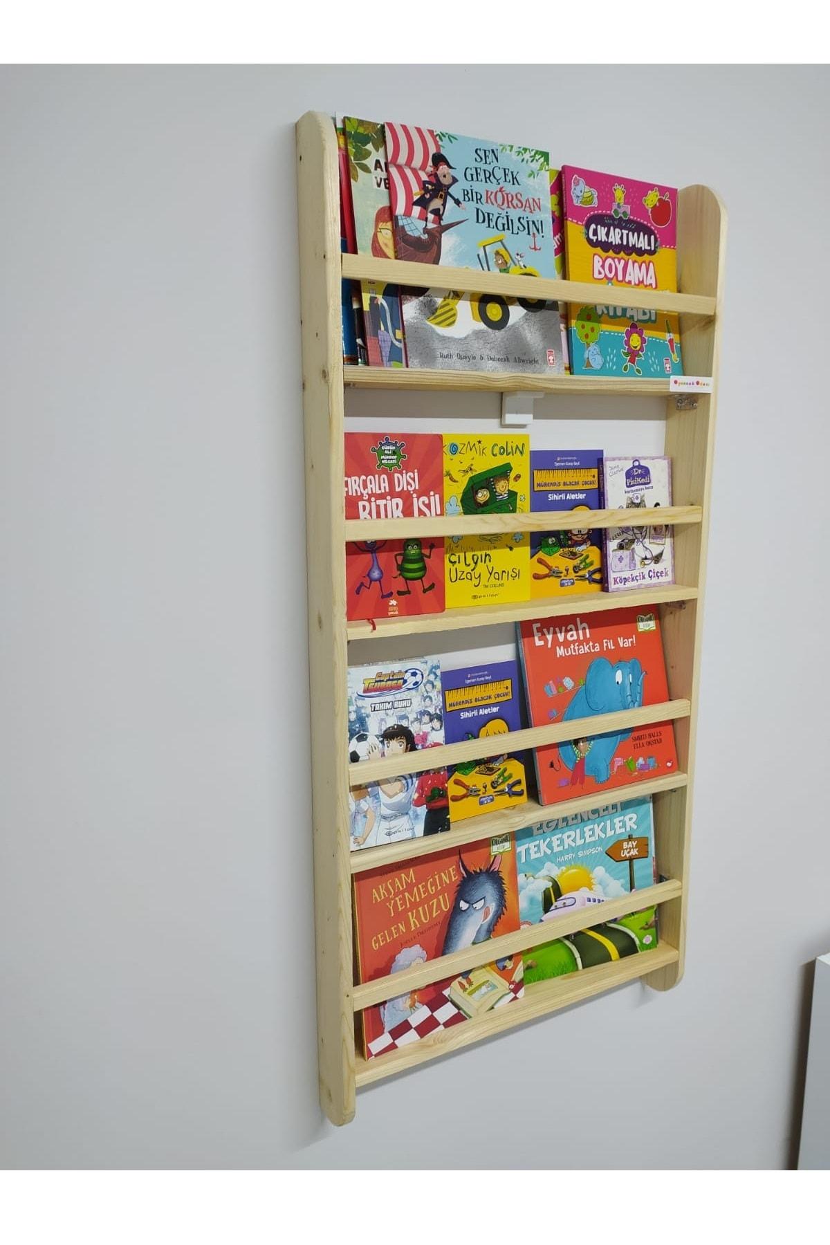 Oyuncak Odası Montessori Çocuk Odası Eğitici Kitaplık Ahşap Duvara Monte 4 Raflı 4
