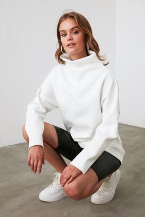 TRENDYOLMİLLA Ekru Dalgıç Kumaş Salaş Örme Sweatshirt TWOAW20SW0030 2