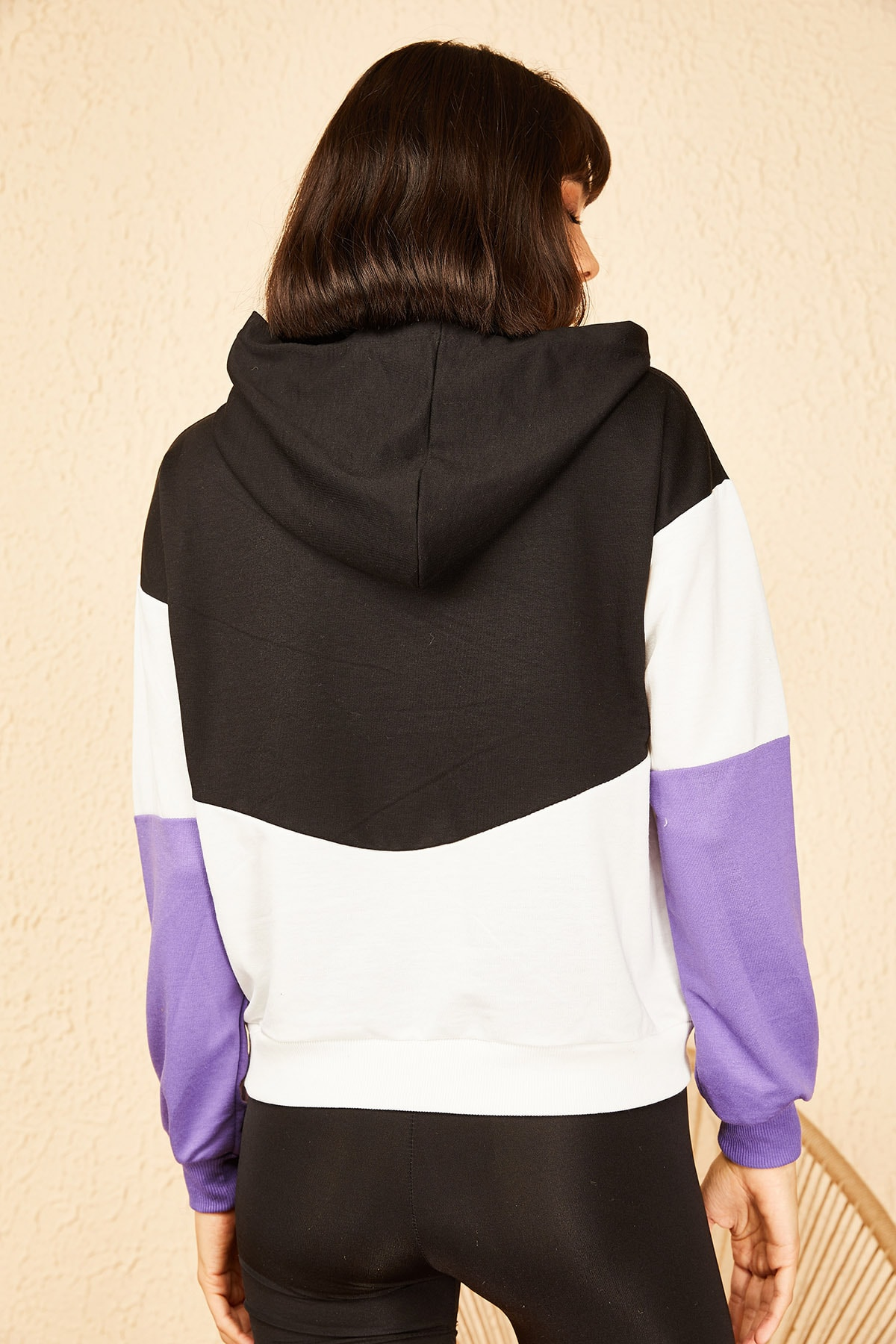 Bianco Lucci Kadın Lila Kapüşonlu Rebel Baskılı Sweatshirt 10141036 4
